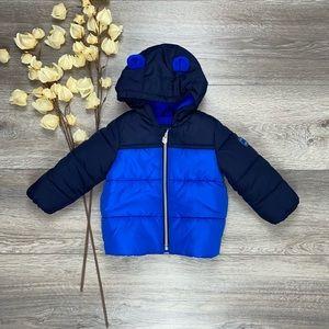 GAP Fleece Lined Puffer Coat Blue Navy Bear Ears